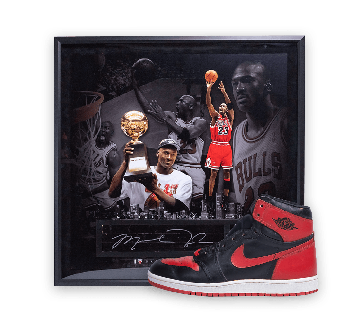 Signed Nike AJ1 Bred 1985 and Floor Image